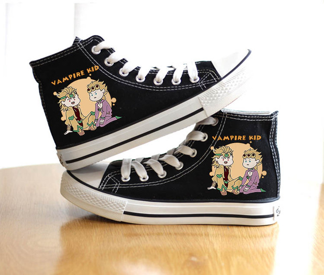 Unisex Anime Bizarre Adventure Shoes Cosplay VENTO AUREO Black Canvas Shoes plimsolls Duck Shoes 3