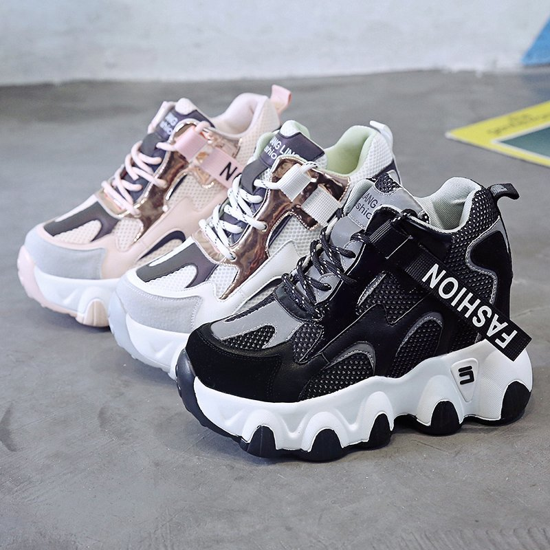 Super High Heels Platform Shoes Women Vulcanized Shoes Woman Autumn Lace-up Sneakers Women Casual Wedges Female Sports Shoes new