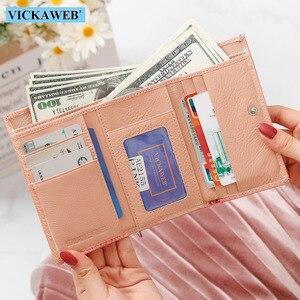 Image 3 - Vickaweb carteira feminina de couro legítimo, carteira curta de moda feminina, bolsa com fecho e zíper de jacaré