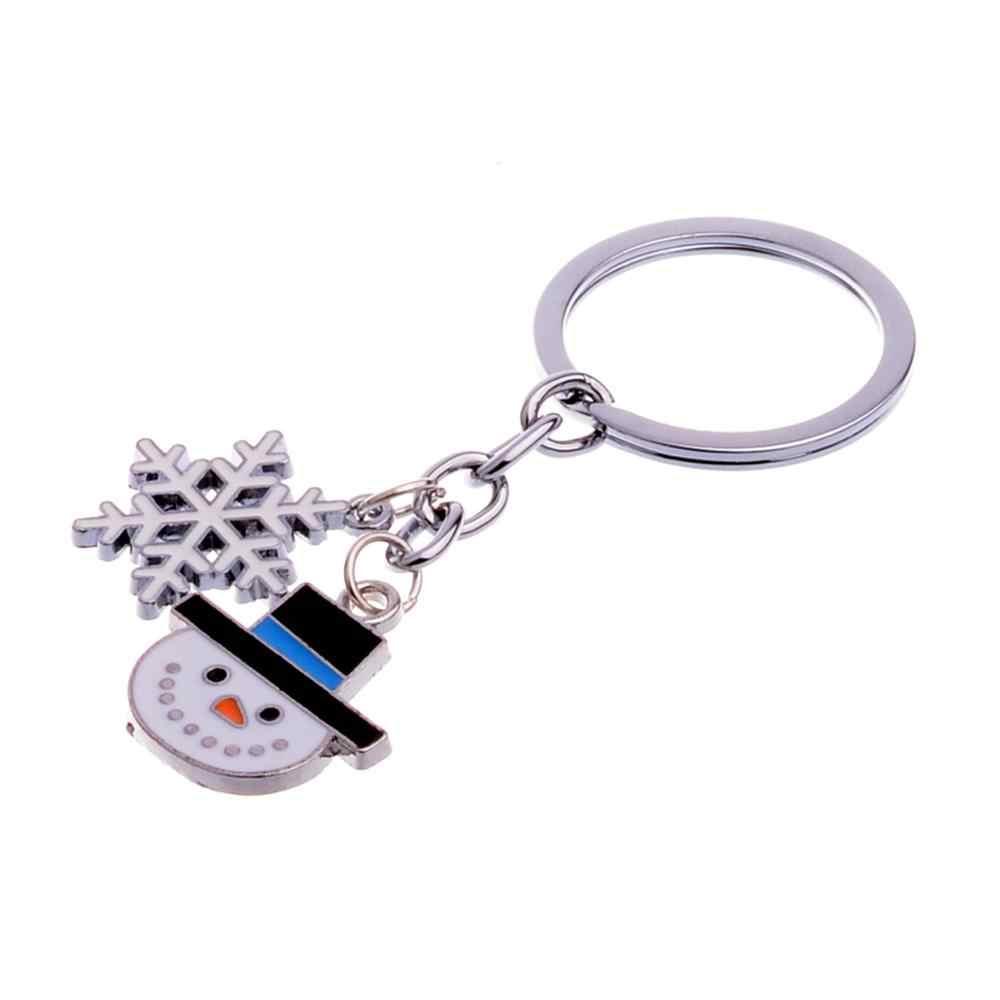 เคลือบ Snowman Charms พวงกุญแจเกล็ดหิมะ Key Chain แหวนของขวัญคริสต์มาส Xmas ของขวัญผู้ชายผู้หญิงพวงกุญแจ Snow Man Flake เครื่องประดับ