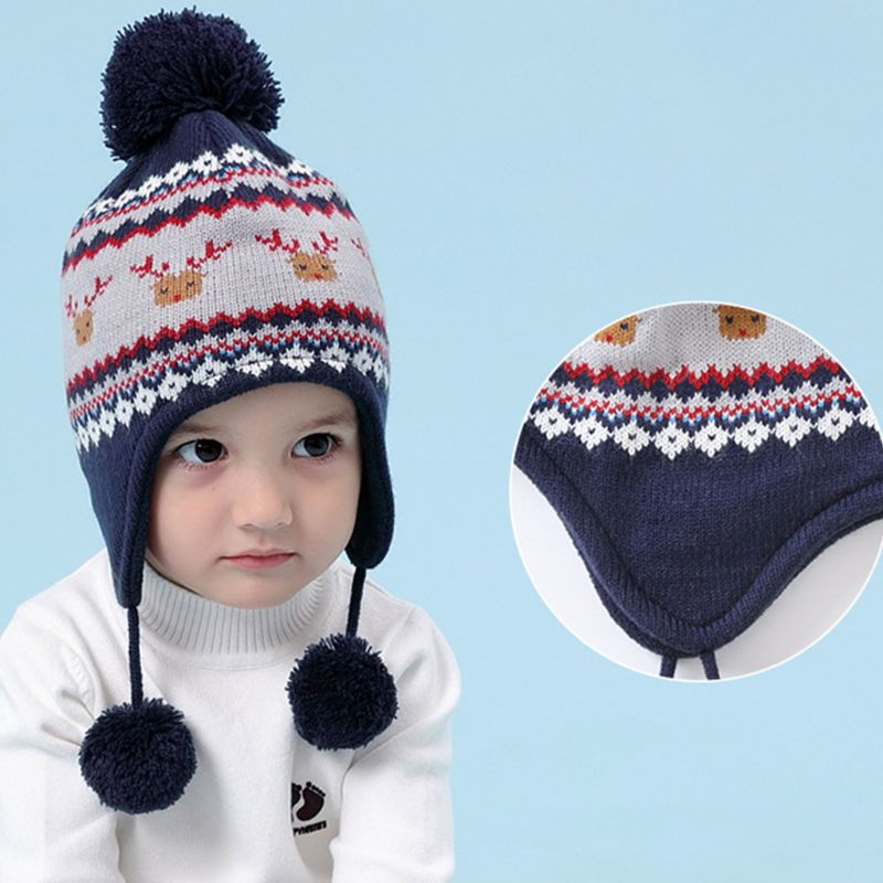 Toddler Kids Christmas Reindeer Stripes Pompom Earflap Beanie Cap Scarf Gloves Plush Thermal Lining Winter Warmer