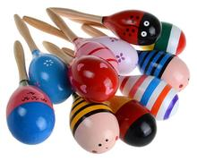 Musical Instrument Color Wooden Sand Hammer Rattle Ball Childrens Educational Toys