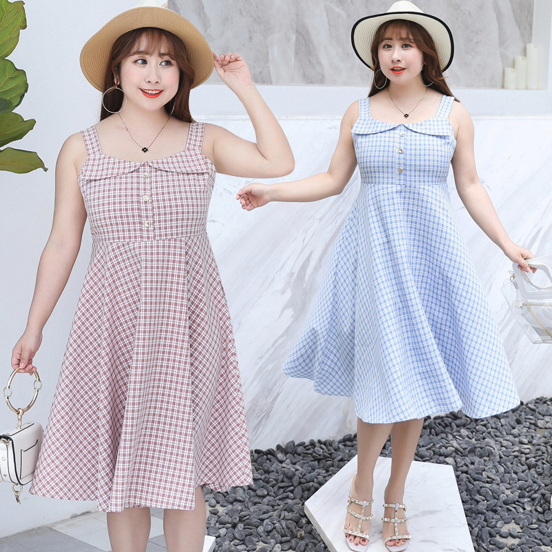 2019 Summer New Products Large Size Dress Sweet Dress Ladies' Camisole Plaid Skirt Fat Mm Dress On Behalf Of 6621
