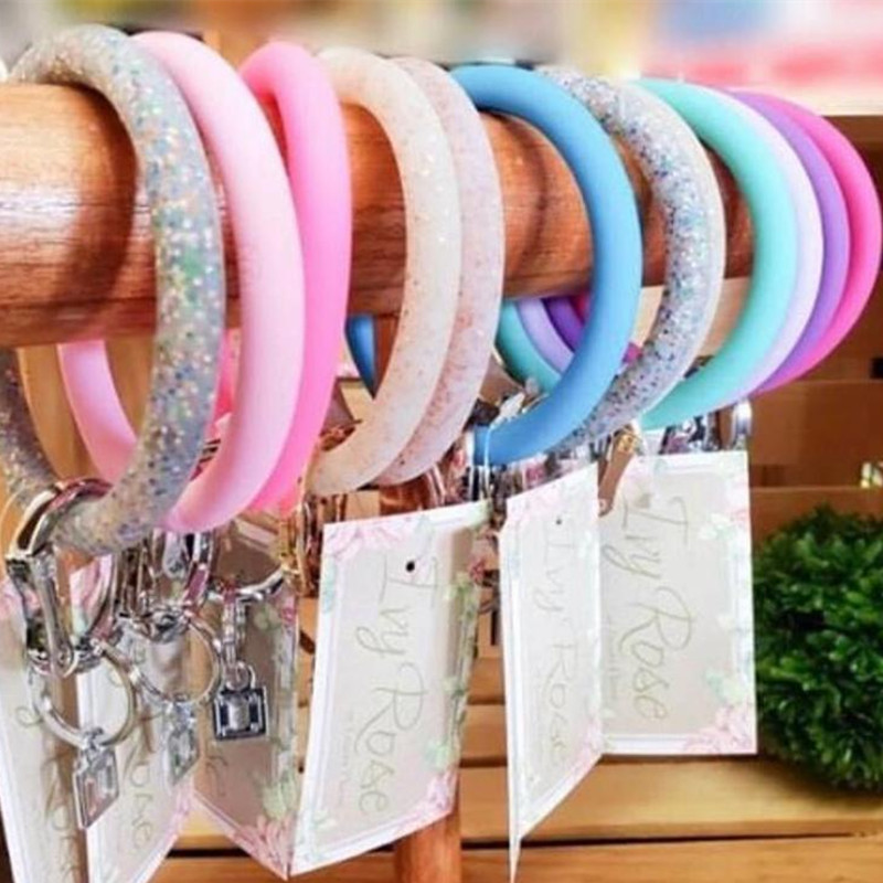 JUST FEEL New Silicone O Circle Wristlet Keychain Southern Fashion Women Car KeyChain Ring Gold O Clasp Unisex Wholesale Gifts