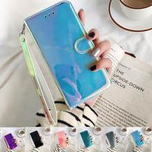 Espelho 3d caso de couro na para huawei honor 9s 8s 8a 10 10i 20i y5 y6 p p30 p40 lite pro p inteligente 2020 2019 flip suporte capa do telefone