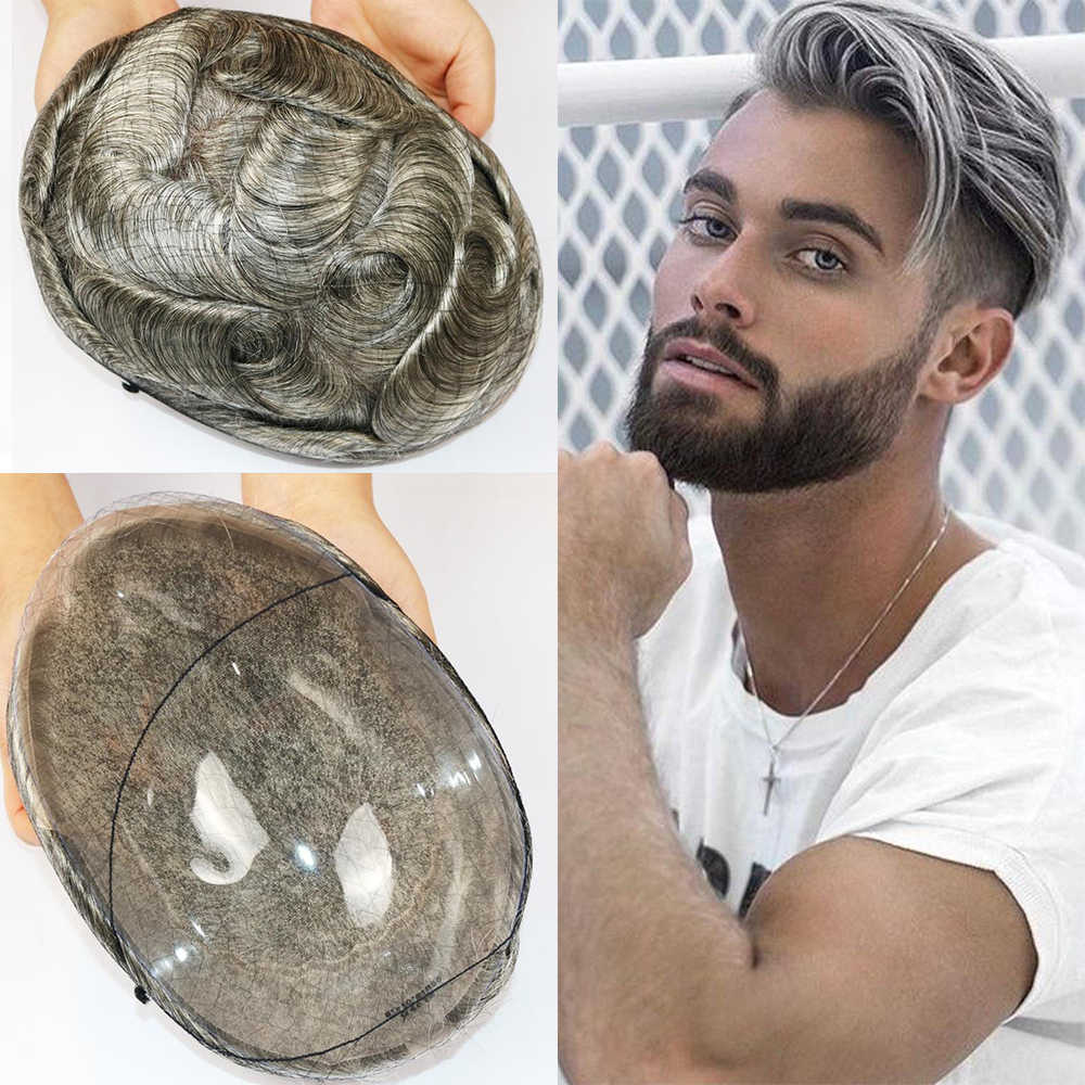 Lace Base Toupee Indian Remy Human Hair Men's Hairpieces Density 120% Pu Sides and Back Breathable Short Hair Wigs