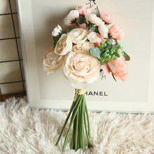4 Colors Silk Peony Rose Artificial Flower Bridal Bouquet Wedding Decoration DIY Home Party Fake Flowers 4colors silk peony rose hybrid bouquet artificial flower bridal bouquet wedding decoration diy home party