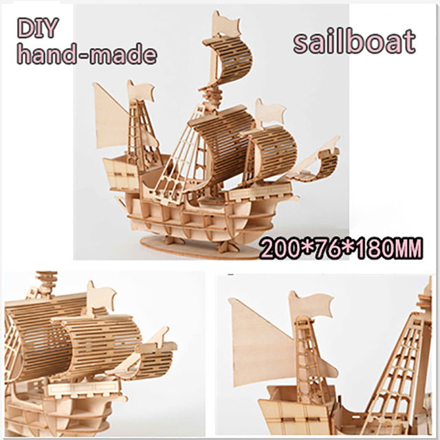 Modèle à construire Jouet En Bois Puzzle Assemblage Modèle DIY Bateau À Voile Jouets 3D 10