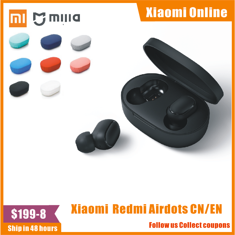 In Stock 100%Original Xiaomi Redmi Airdots TWS Bluetooth Earphone Stereo Bass BT 5.0 Eeadphones Mic Handsfree Earbuds AI Control