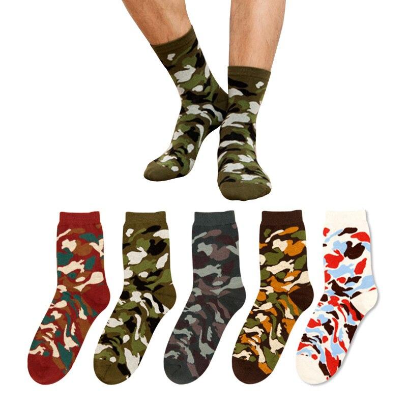 Military Fashion New Autumn Winter Men Socks Jacquard Camouflage Socks Hip Hop Socks Olive Camo Arts Funny Hip Hop 3D Prints  S6