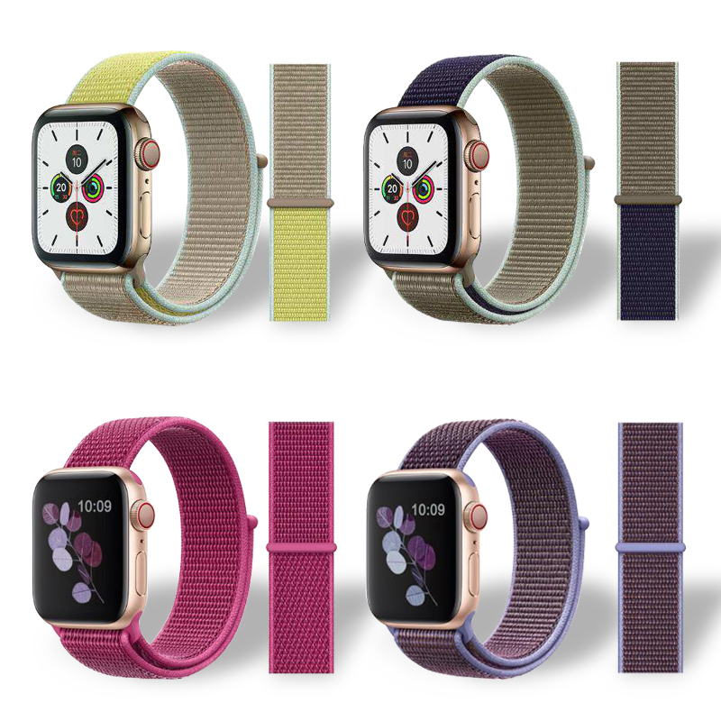 For Apple Watch 4 5 40 44mm New Nylon Sport Loop Band Smoke Purple 38mm 42mm Bracelet  I Watch Series 1 2 3 Bands Wristband