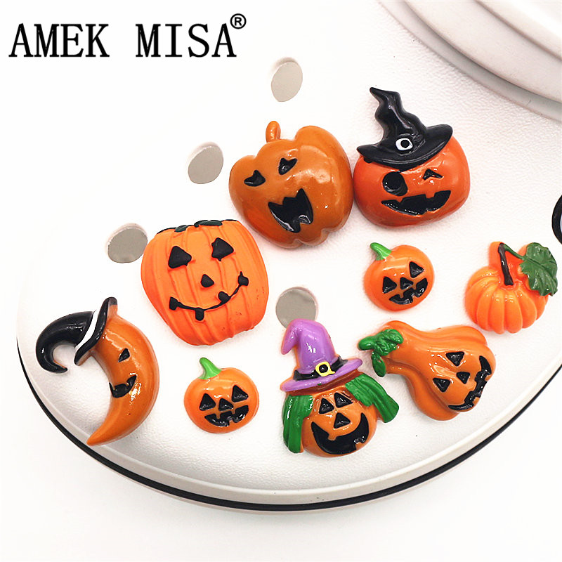 Safety Resin Shoe Decoration Halloween Horror Pumpkin Shoe Accessories Garden Shoe Charm Fit Croc Jibz Kid's Party X-mas Gift