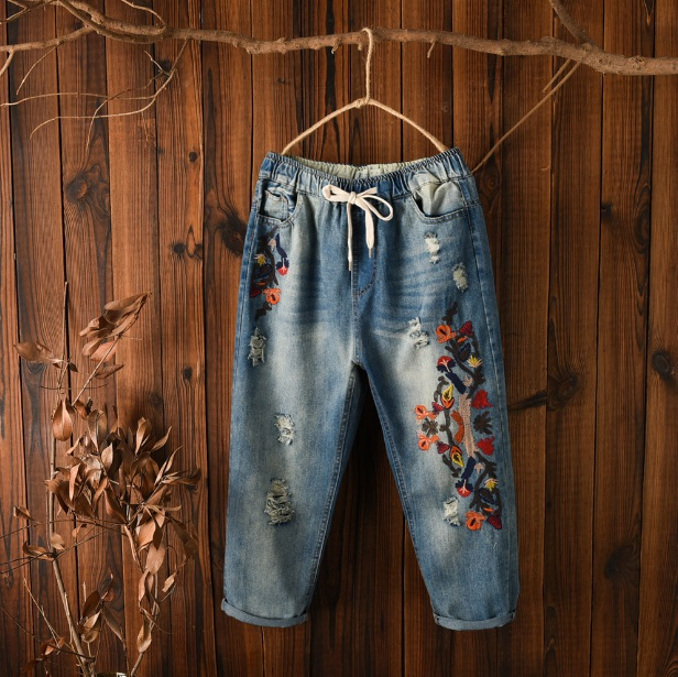 Women Jeans Large Size Women's Autumn Casual Embroidery Pants Retro Elastic Waist With Drawstring Harem Jeans For Women