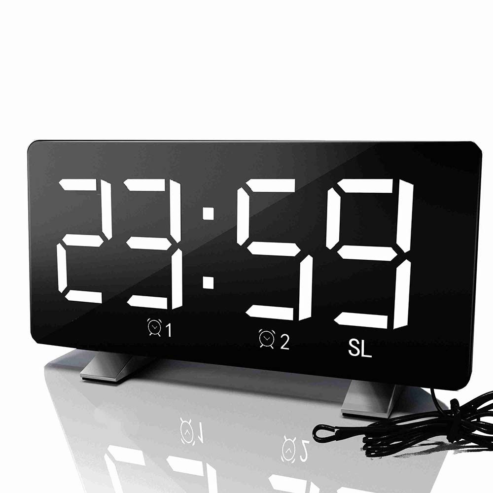 Digital LED Alarm Clock Mirror Multifunction Snooze Time Display Adjustable Lighting FM Radio Table Clock Time Memory Desk Clock