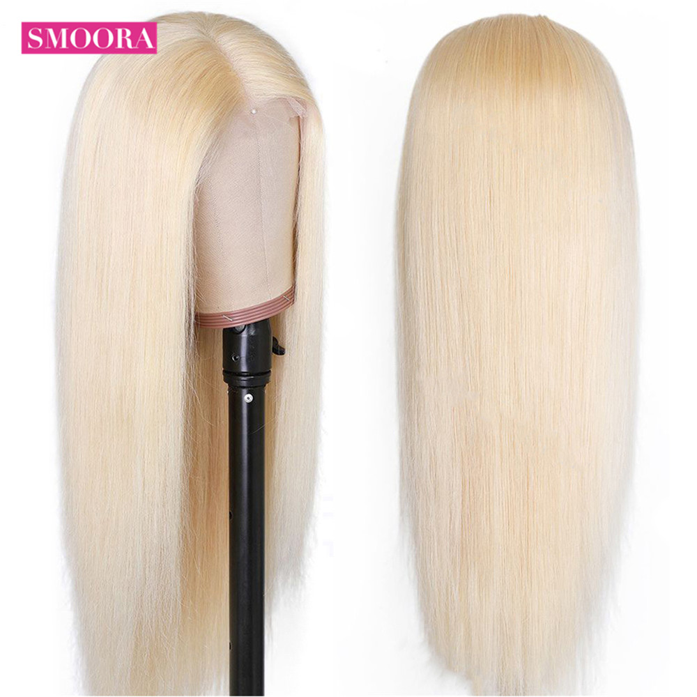 613 Honey Blonde Color   Straight 13*1 Middle Part Lace Front  Wig 8 - 28 Inch 150% Density Women's Wigs 5