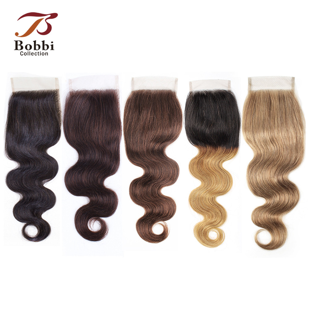 Bobbi Collection Color 8 Ash Blonde Body Wave Lace Closure 4x4 Closure Natural Color #2 #4 #613 Blonde Indian Remy Human Hair