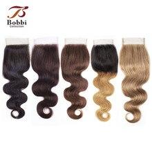 Bobbi Collection perruque dentelle ondulée naturelle Remy naturelle, Body Wave, couleur #2 #4 #613 blond, 4x4, couleur naturelle #2 #4 #
