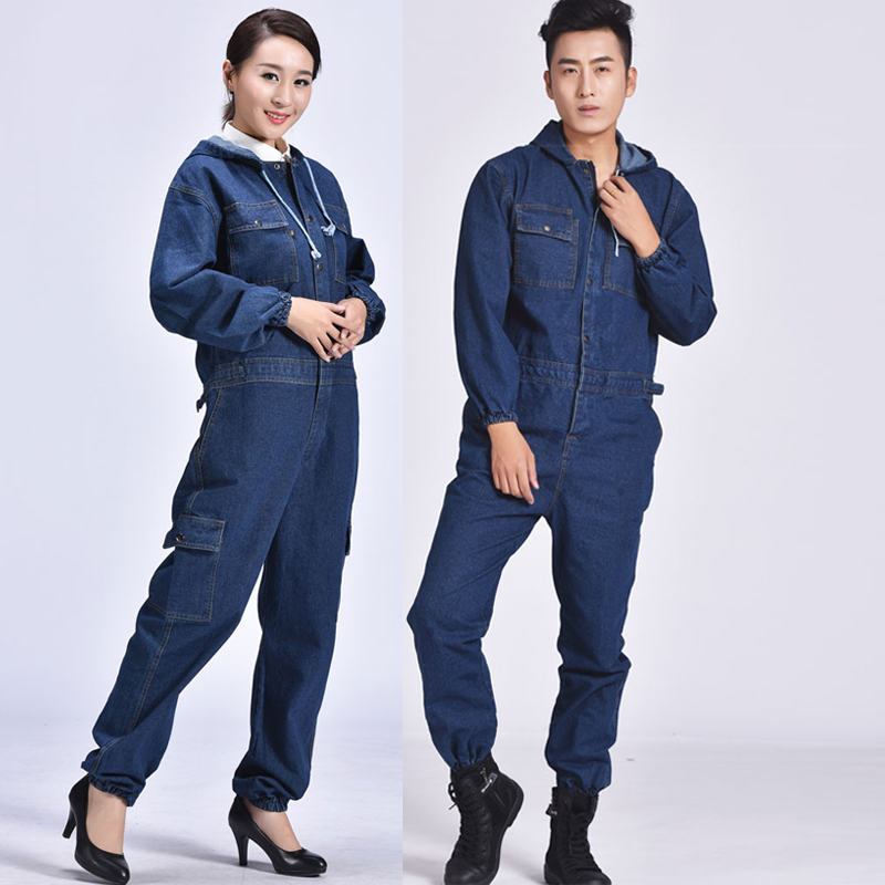 Men Denim Work Uniform Flame Retardant Welding Suit Coverall Overall Worker Jumpsuit Repairman Machine Auto Repair Anti-sparking