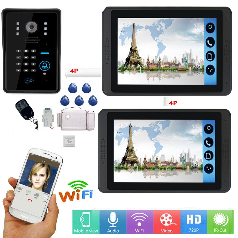 RFID Video Intercom 7inch Wifi Wireless Video Doorbell Intercom Entry System With Wired Camera Support APP Intercom Record