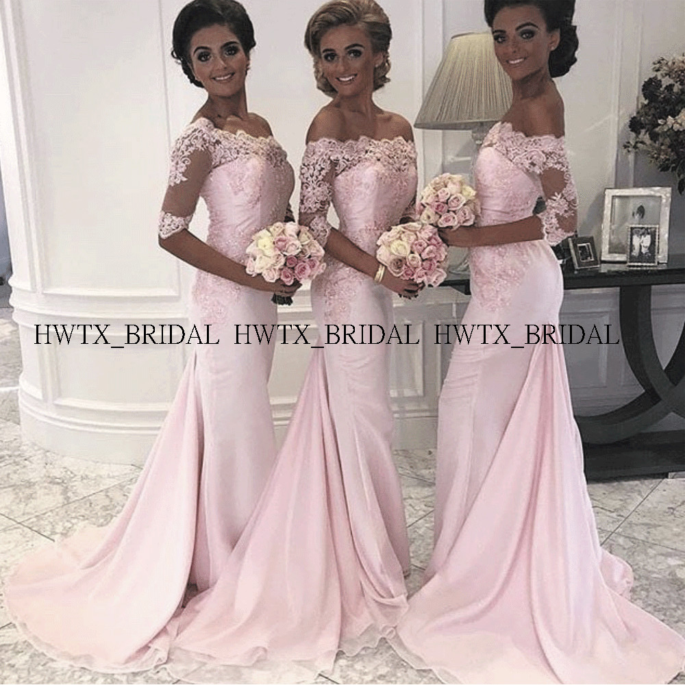 Pink Lace Chiffon Bridesmaid Dresses With Sleeves Off The Shoulder Mermaid Long Wedding Guest Dress Robe Demoiselle D'honneur