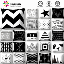 SUNBEAUTY Decorative Throw Pillow Covers Black And White Cushion Covers Classic 45x45cm Pillow Case Home Decor Sofa Living Room simple black and white moon night design sofa pillow case