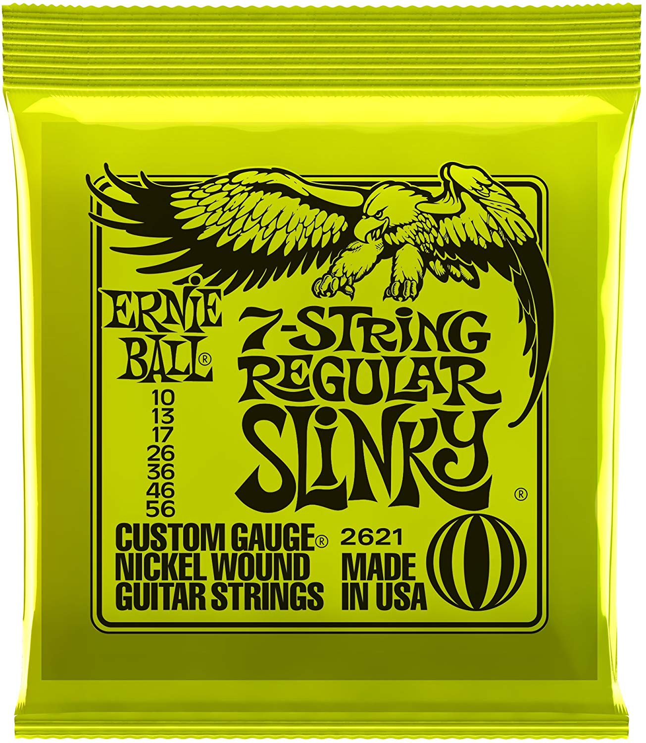 Ernie Ball 2621 Regular Slinky 7-string Nickel Wound Electric Guitar Strings - 10-56