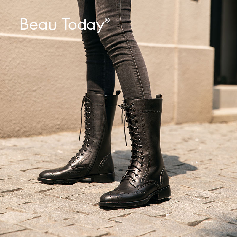 BeauToday Mid-Calf Boots Women Genuine Cow Leather Wingtip Round Toe Side Zip Lace-Up  Lady Brogues Boots handmade 02021