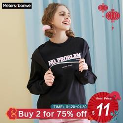 Metersbonwe Oversized Hoodies Voor Vrouwen Streetwear Brief Gedrukt Casual Bf Sweatshirt 2019 Nieuwe Vrouwen Hip Pop Hoodies 720950