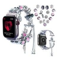 2 in 1 bracciale fai-da-te per Apple Watch serie 42/44mm 5/4/3 gioielli fatti a mano Vintage in rilievo iWatch 38mm 40mm bracciale donna uomo