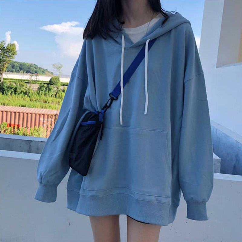 OHRYIYIE Oversize Female Loose Hoodies Sweashirt Spring Summer 2020 Women Fashion Korean Kpop White Blue Long Sleeve Pullover