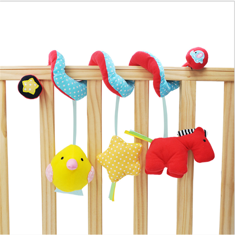 Baby Hand Toys Pony Plush Rattle 0-12 Months Crib Spiral Hanging Mobile Infant Stroller Bed Animal Appease Toys For Toddler Kids
