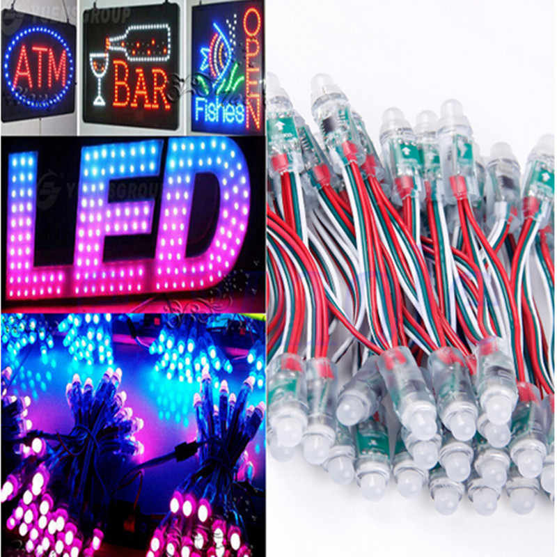 50 Buah/Set Lampu Pixel LED WS2811 2811 IC Penuh Warna Pixel LED Module Input DC5V IP68 Tahan Air Warna RGB DC 5V 12 Mm