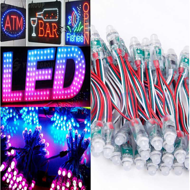 Free Shipping 50pcs DC 5V 12mm WS2811 RGB LED Pixel Light Module IP68 waterproof LED Lighting Full Color christmas Light
