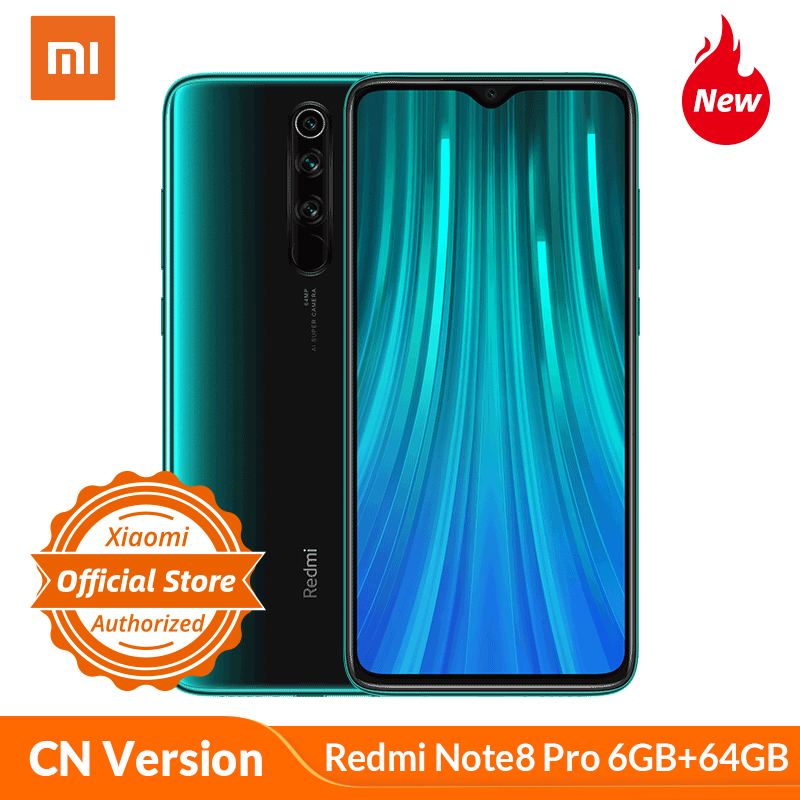 Xiaomi Redmi Note 8 Pro 6GB 64GB Smartphone MTK Heilo G90T Mobile Phone 18W Quick Charge 64MP Camera 4500 MAh NFC 6.53