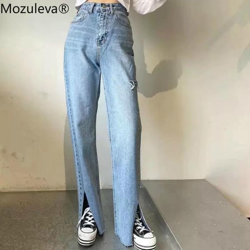BornSra 2020 Spring Women Tassel Ripped Hole Denim Jeans High-waist Straight Jeans For Women Side Split Jeans Vintage Long Pant