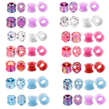 2Pair Silicone Plugs and Tunnels Flexible Thin Ear Tunnel Double Flared Piercing Flesh Gauge Expander Stretchers