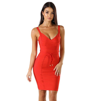 LEGER BABE Woman Bandage Dress Red Backless Club Dress Sexy Bodycon Club Celebrity Party Dress