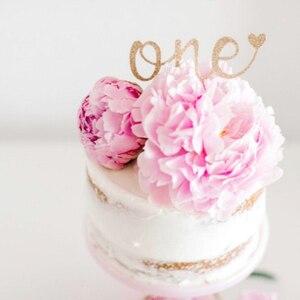 1-й День рождения Smash торт Топпер первый юбилей Блестящий Топпер для торта украшения принадлежности для детей день рождения