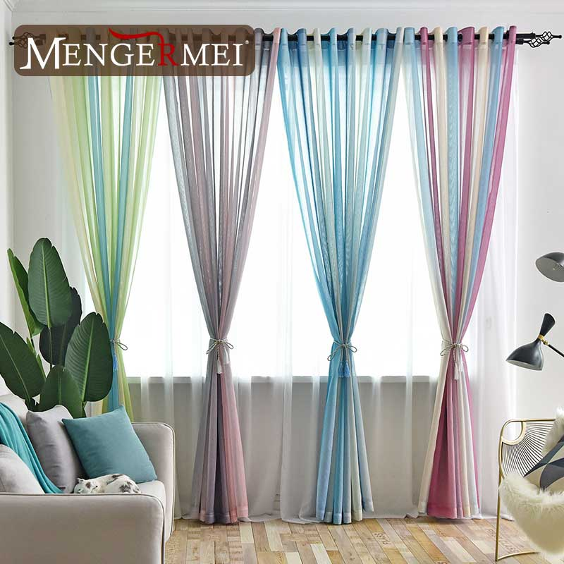 MENGERMEI Colorful Rainbow Curtain For Living Room Dining Room Simple Tulle Window Curtains For Bedroom Modern  Room Drapes 202