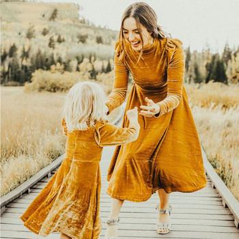Matka córka sukienki mama i ja kobiety dzieci dziewczyna jesień aksamitna z długim rękawem matka córka sukienki księżniczka rodzina pasujące tanie i dobre opinie CANDYDOLL Suknie Moda Pełna Pasuje prawda na wymiar weź swój normalny rozmiar Terylene Stałe Matka i Córka Polyester Fiber (Polyester)