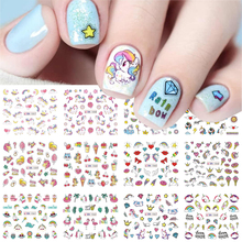12pcs Nail Stickers Pink Horse Transfer Sliders For Nails Cute Cartoon Flamingo Water Decals For Manicure Designs GLBN1057-1068