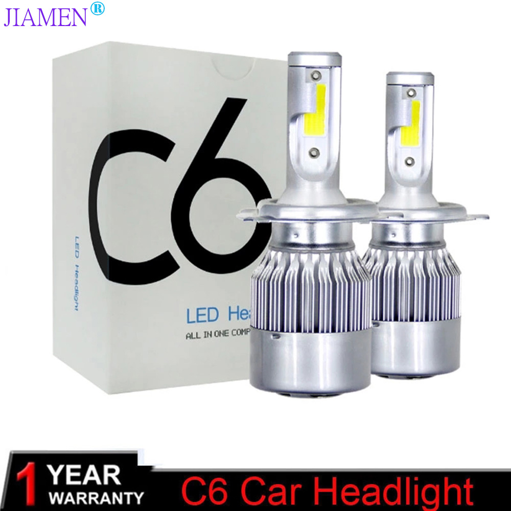JIAMEN 2PCS C6 Car Led Headlight Kit LED H4 H7 H11 H13 H1 H3 9004 880 9005 9006 COB 6000K 72W 8000LM Hi/Lo Beam Turbo Light