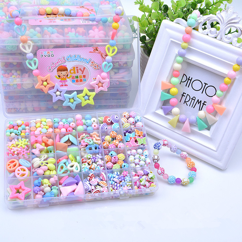 Children Hands-on String Beads Toy Girl DIY Handmade Puzzle Plastic Wearing Beads Necklace Gifts