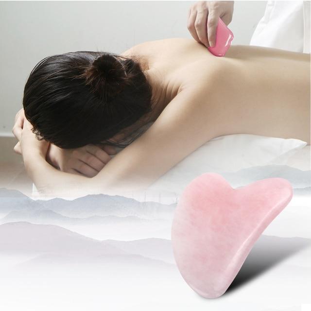 Natural Rose Quartz Jade Gua Sha Board Acupuncture Massage Face Lifting Stone Guasha Scraping Board Jade Facial Eye Massage Tool 5