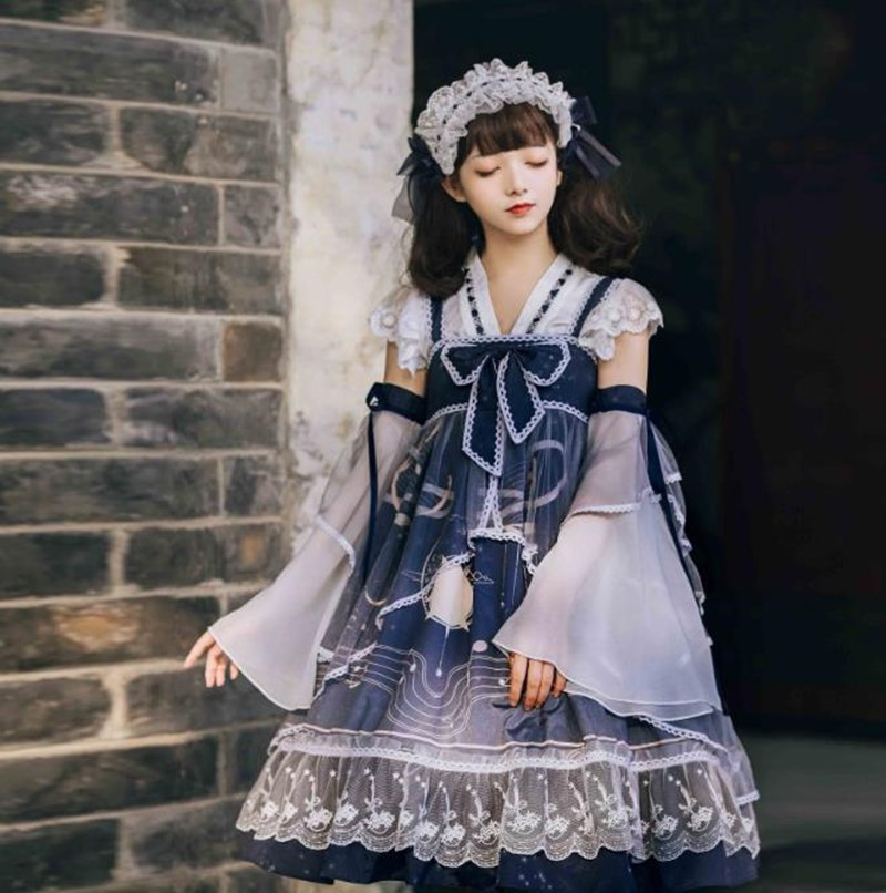Chinese style sweet lolita dress vintage lace bowknot cute printing high waist victorian dress kawaii girl gothic lolita jsk cos