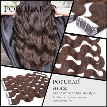 цена на Popukar Body Wave Tape In Virgin Human Hair Extension 40g 100% Real Remy Natural Blonde Hair Extensions