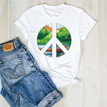 Peace Sign Nature Tshirt Earth Day Tee Shirt Peace T Shirt Hippie Cool T-Shirt Fashion Classic Style Tee Shirt