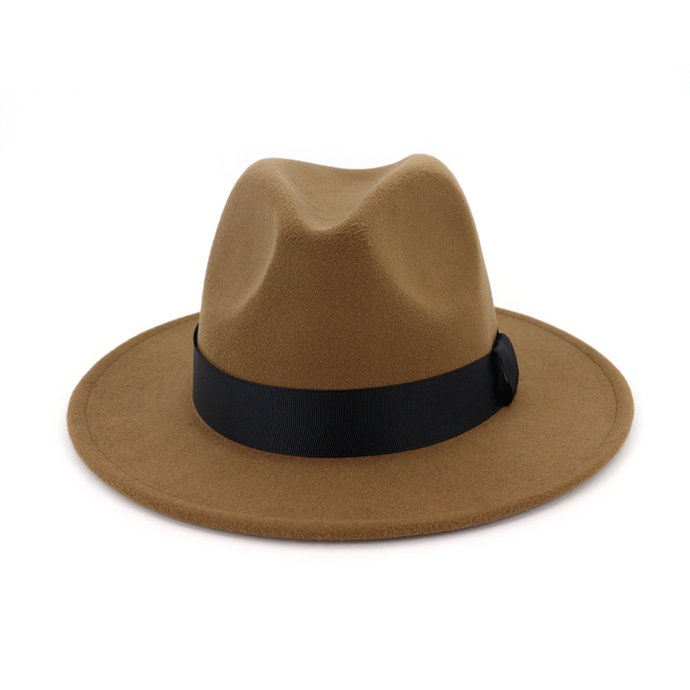 New Vintage Fedora Men Wool Wide Brim Top Hat Witner Autumn for Woman Chapeau Black Church Hat Bowler Ladies women's Jazz Hats 4