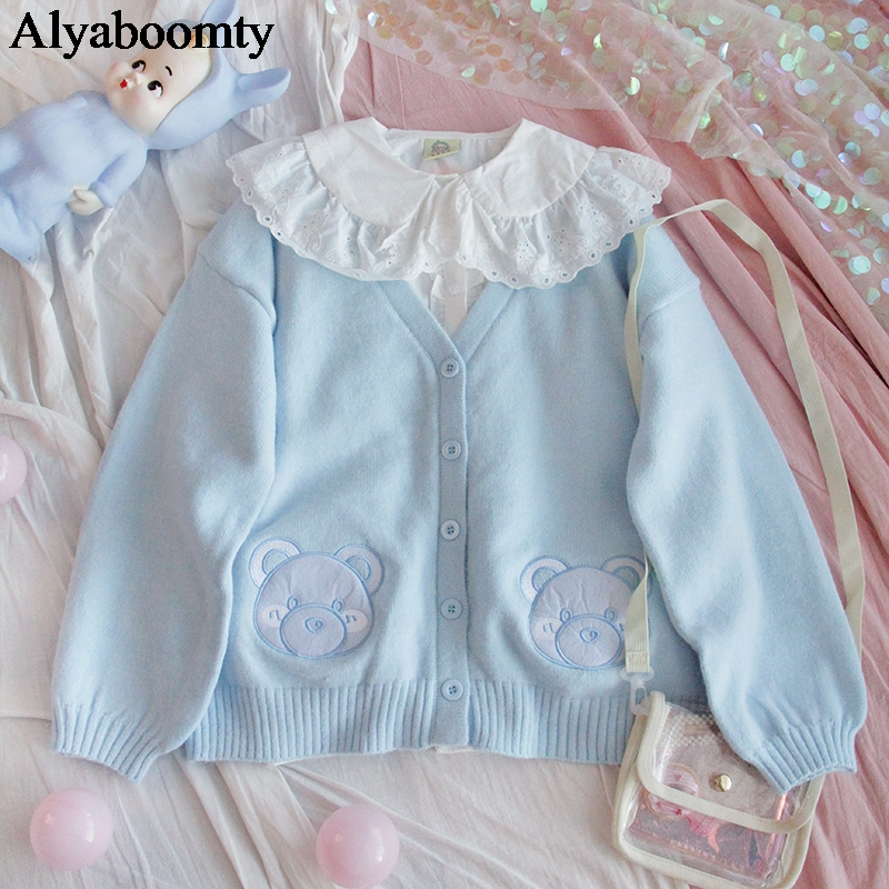 Japanese Preppy Style Spring Autumn Women Sweater Blue Bear/Pink Animal Knitted Outerwear Cute Kawaii Mori Girl Sweet Cardigan