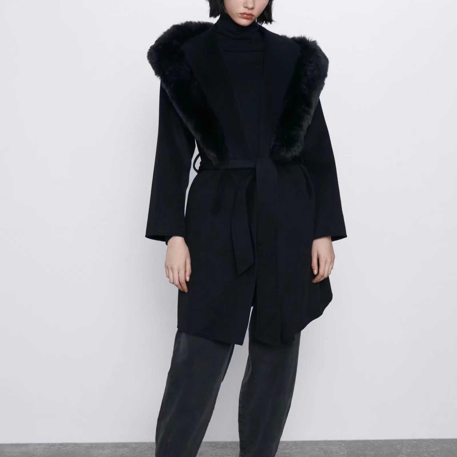 Papan Musim Gugur Musim Dingin Wol Mantel Wanita Bulu Kerah Ikat Pinggang Hangat Fashion Wanita Pakaian Wol Mantel Jaket Wanita Wanita pakaian